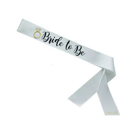 Bride to Be White Sassy Sash with Gold Foil Ring