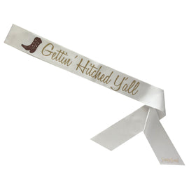 Gettin' Hitched Y'all Sassy Sash with Cowboy Boot - Two Tone