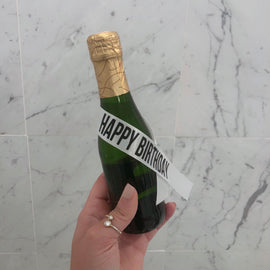 Happy Birthday Bottle Sassy Sash - White with Black