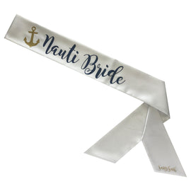 Nauti Bride Sassy Sash with Anchor - Two Tone