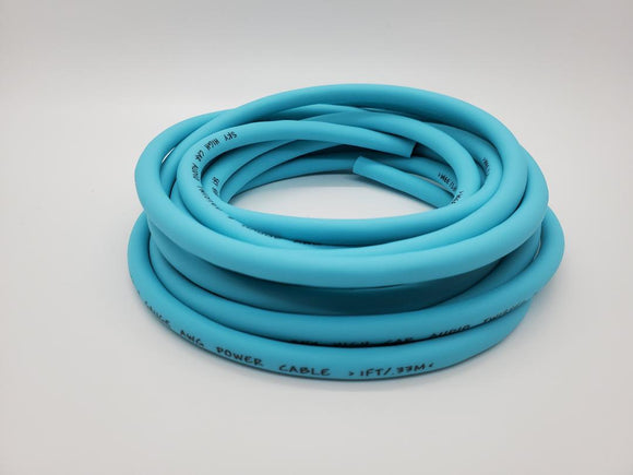 25 ft 8 Gauge OFC AWG TEAL Power Ground Wire Sky High Car Audio GA ft