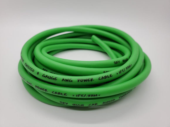 25 ft 8 Gauge OFC AWG LIME GREEN Power Ground Wire Sky High Car Audio GA ft