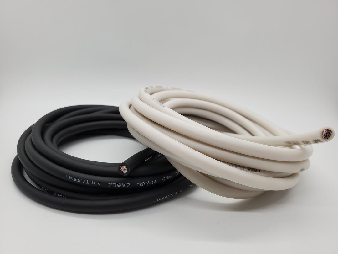 25' Super Flexible OFC 8 Gauge Power & Ground Wire / Cable 12.5 White 12.5 ft Black