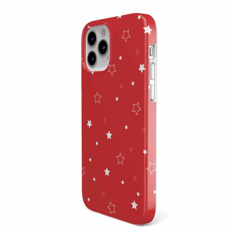 Among the Stars Red Star Patterned Case iPhone Case get.casely