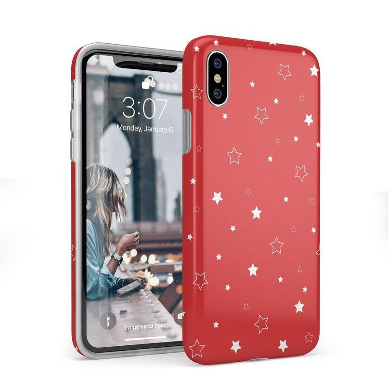 Among the Stars Red Star Patterned Case iPhone Case Get.Casely Classic iPhone X / XS