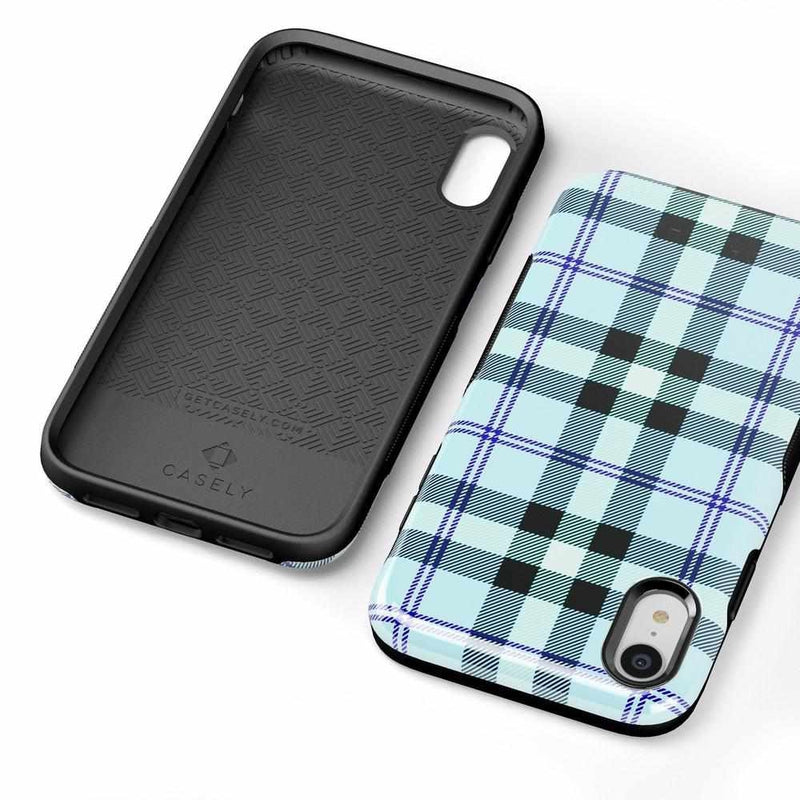 As if! Light Blue Plaid Case iPhone Case Get.Casely