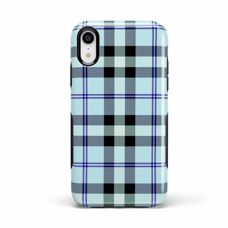 As if! Light Blue Plaid Case iPhone Case Get.Casely Bold iPhone XR