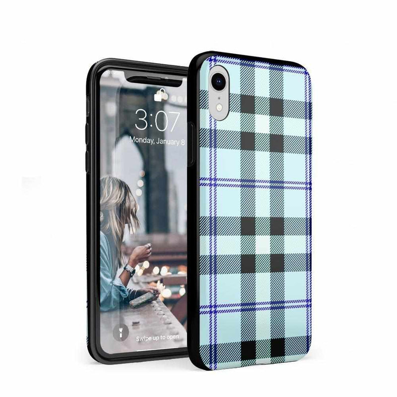 As if! Light Blue Plaid Case iPhone Case Get.Casely Classic iPhone XR