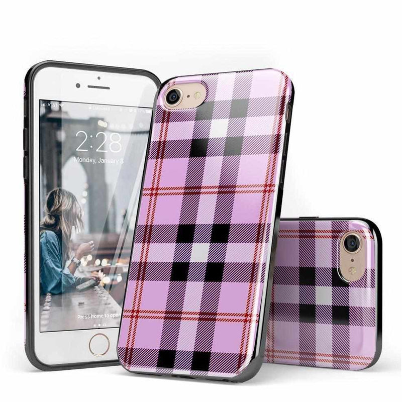 As if! Light Purple Plaid Case iPhone Case Get.Casely