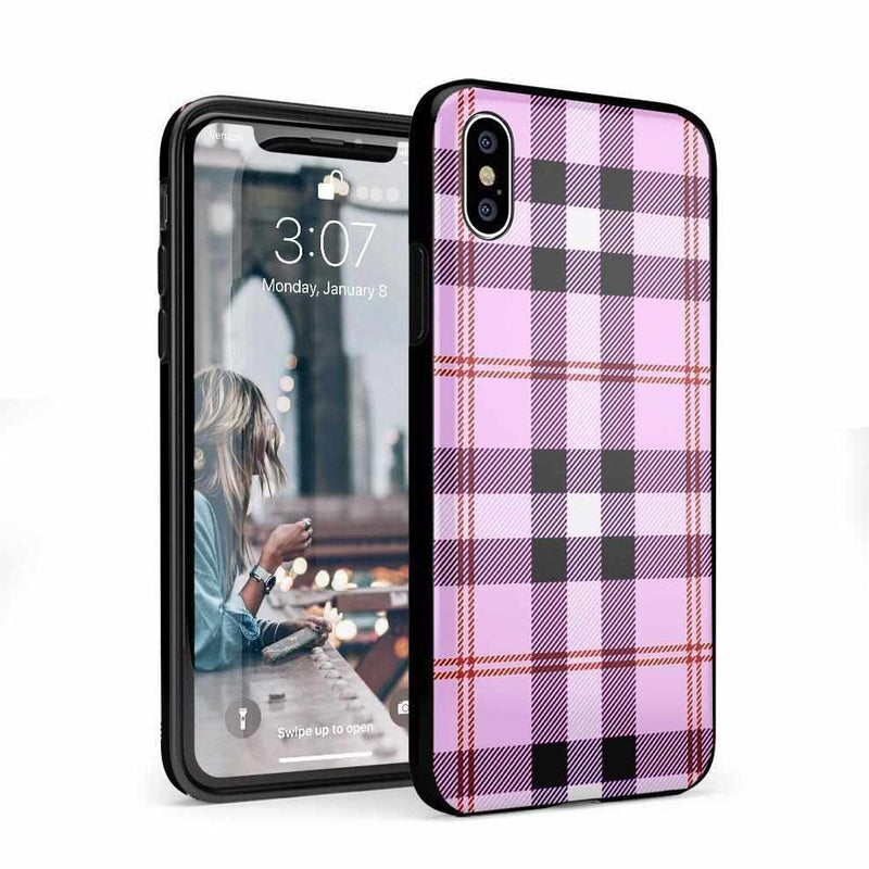 As if! Light Purple Plaid Case iPhone Case Get.Casely Classic iPhone X / XS