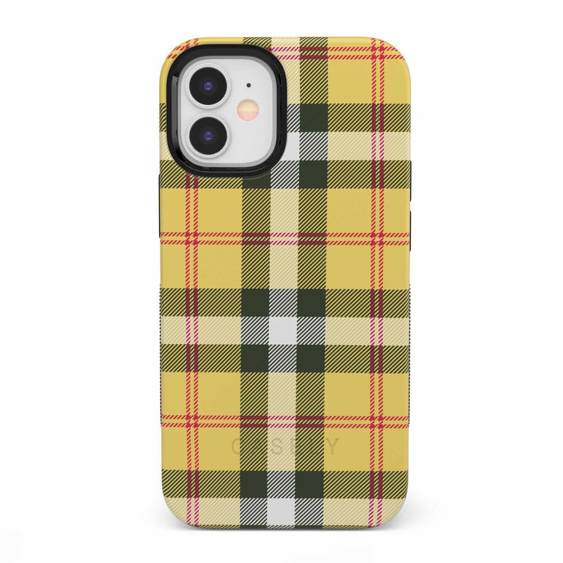 As if! Yellow Plaid iPhone Case iPhone Case get.casely Bold iPhone 12 Mini