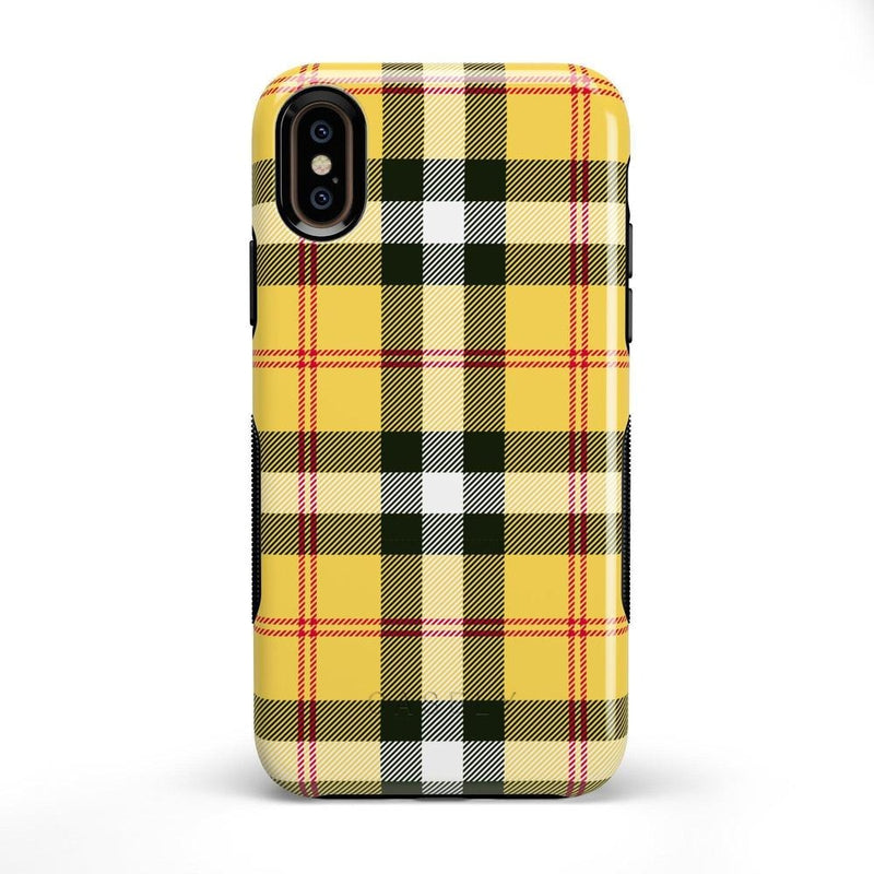 As if! Yellow Plaid iPhone Case iPhone Case Get.Casely Bold iPhone X / XS
