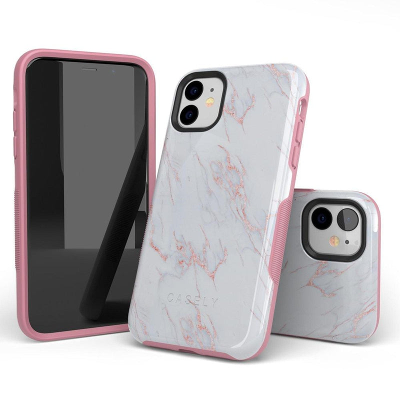 Beautiful White and Pink Marble Case