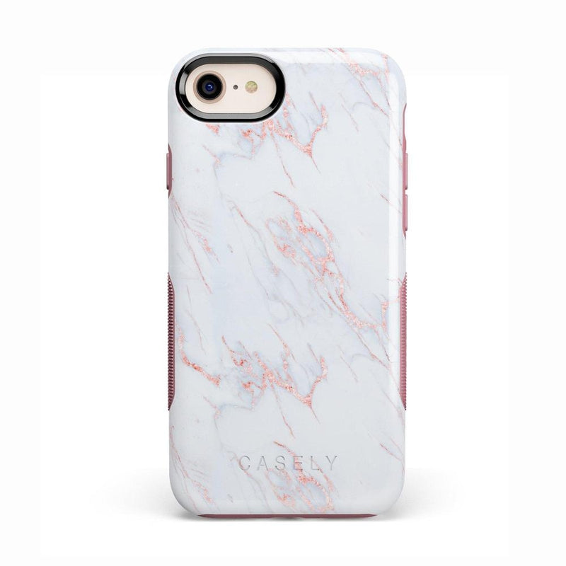 Beautiful White and Pink Marble Case iPhone Case Get.Casely Bold iPhone 8