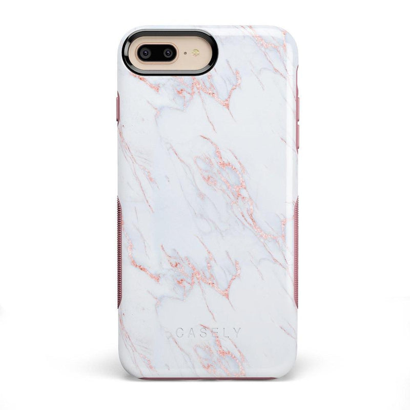 Beautiful White and Pink Marble Case iPhone Case Get.Casely Bold iPhone 8 Plus