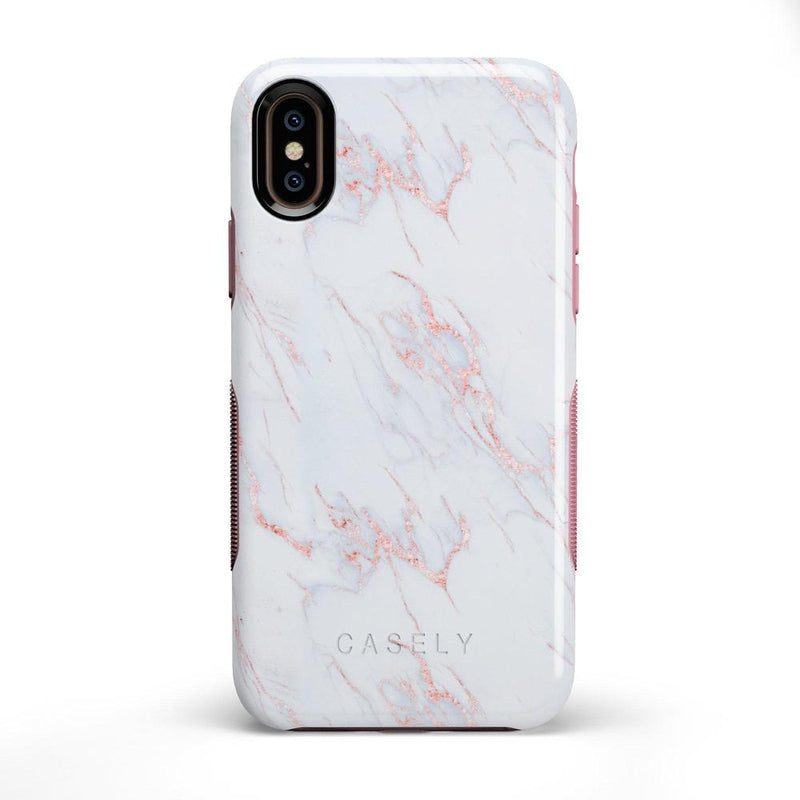 Beautiful White and Pink Marble Case iPhone Case Get.Casely Bold iPhone X / XS