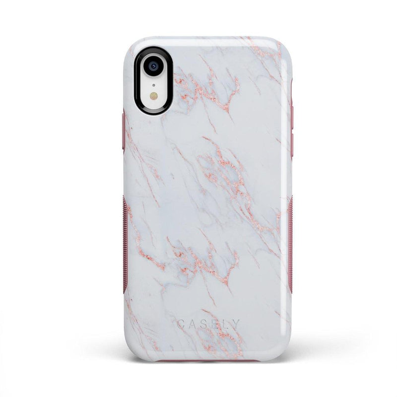 Beautiful White and Pink Marble Case iPhone Case Get.Casely Bold iPhone XR