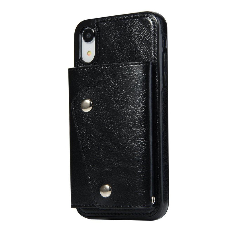 Black Leather Wallet Case iPhone Case get.casely iPhone XR