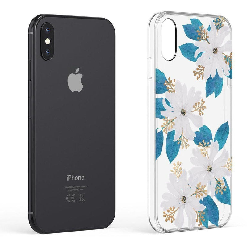 Colorful flowers on deep blue background iphone 11 case