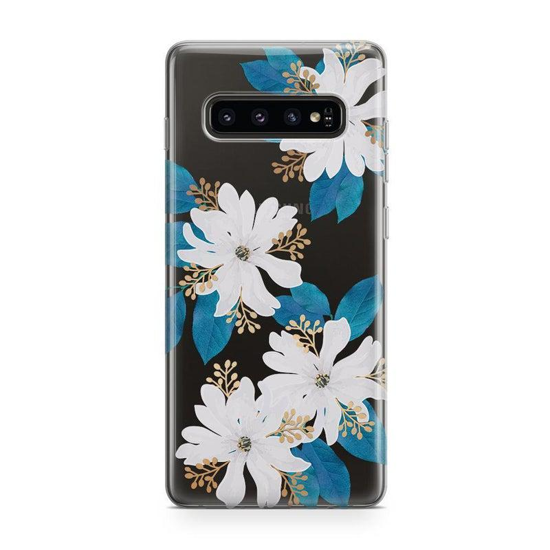 Blue and Gold Clear Floral Case iPhone Case Get.Casely Classic Galaxy S10 Plus