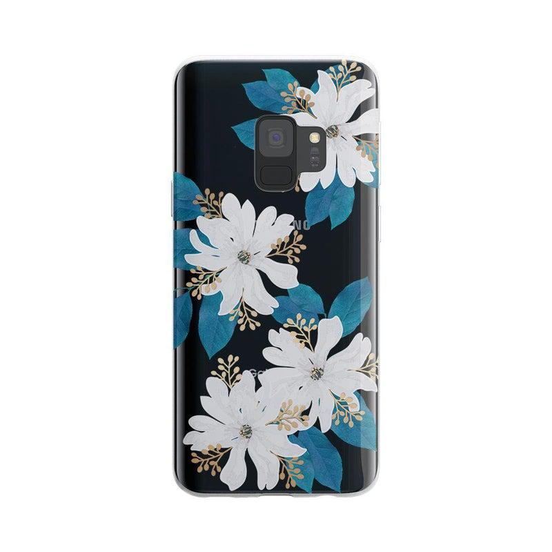 Blue and Gold Clear Floral Case iPhone Case Get.Casely Classic Galaxy S9