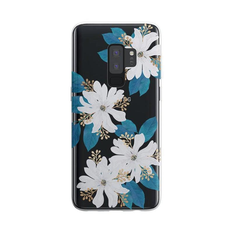 Blue and Gold Clear Floral Case iPhone Case Get.Casely Classic Galaxy S9 Plus