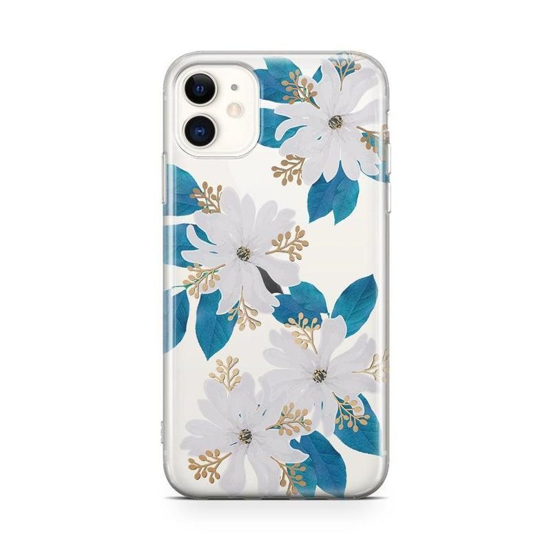 Blue and Gold Clear Floral Case iPhone Case Get.Casely Classic iPhone 11