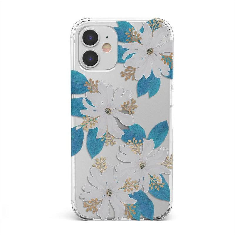 Blue and Gold Clear Floral Case iPhone Case get.casely Classic iPhone 12 Mini