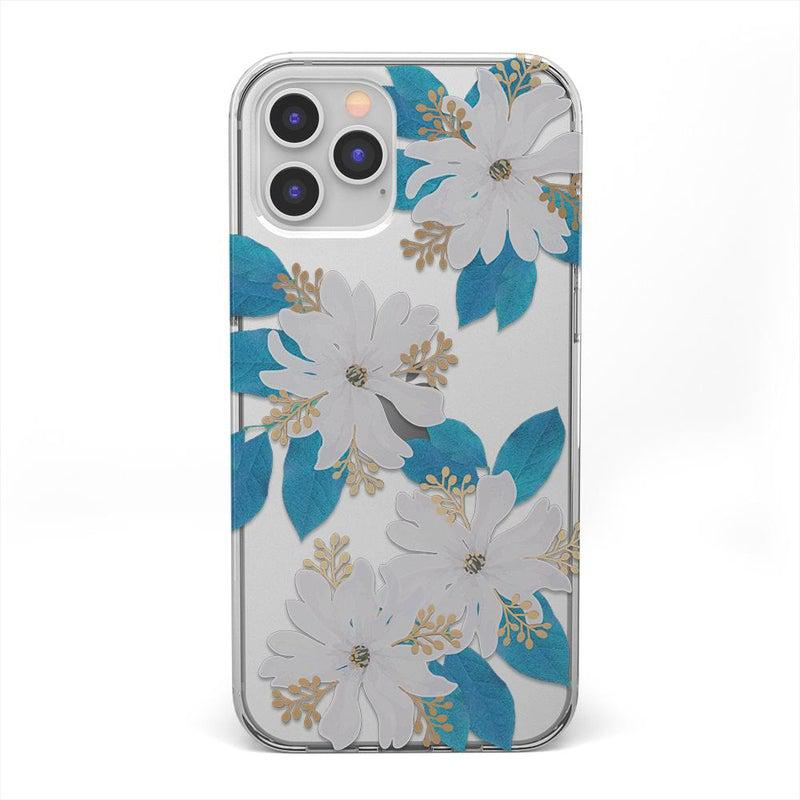 Blue and Gold Clear Floral Case iPhone Case get.casely Classic iPhone 12 Pro