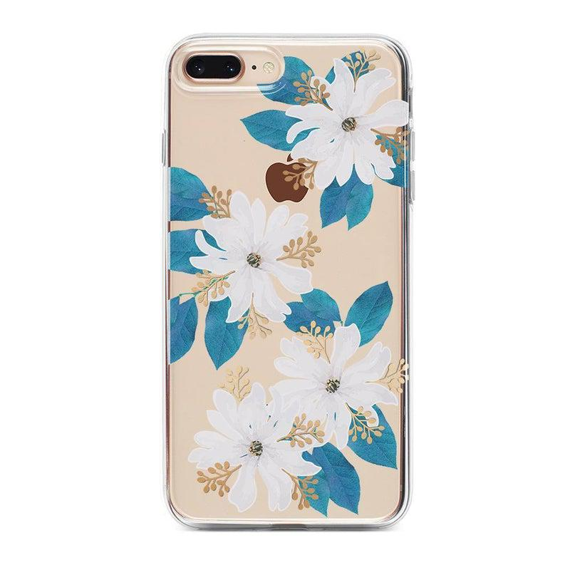 Blue and Gold Clear Floral Case iPhone Case Get.Casely Classic iPhone 6/6s Plus