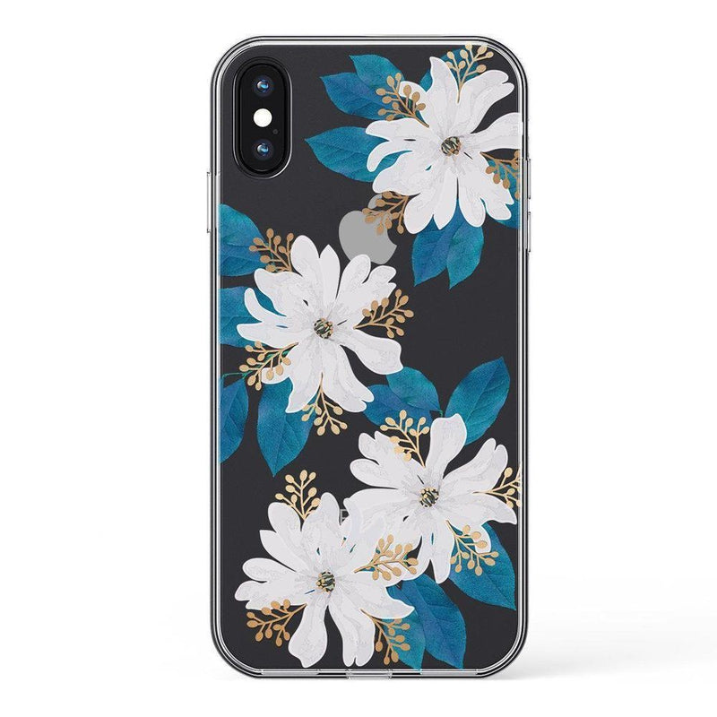 Blue and Gold Clear Floral Case iPhone Case Get.Casely Classic iPhone X / XS