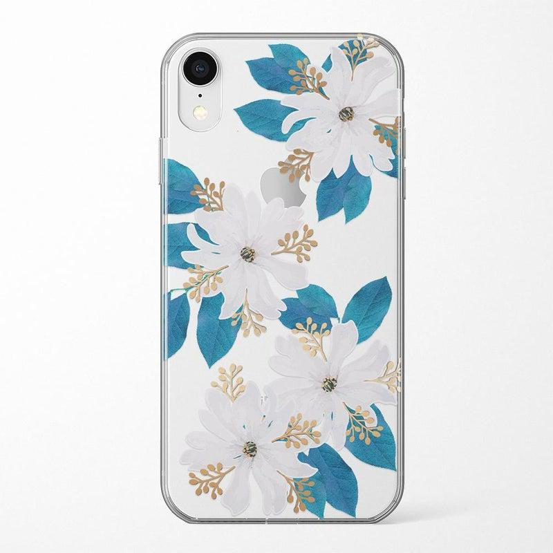 Blue and Gold Clear Floral Case iPhone Case Get.Casely Classic iPhone XR