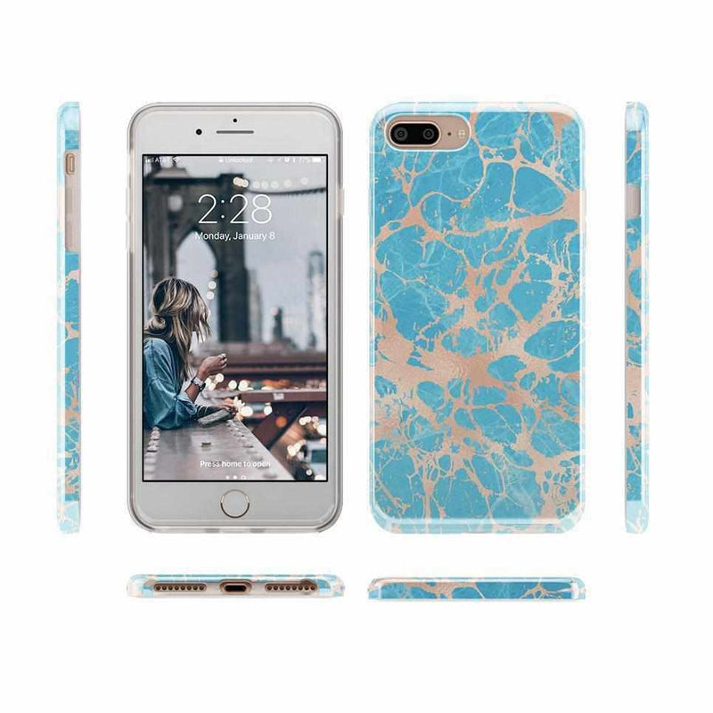Blue Teal & Rose Gold Marble Case iPhone Case Get.Casely