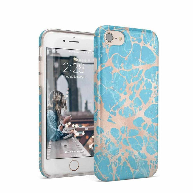 Blue Teal & Rose Gold Marble Case iPhone Case Get.Casely Classic iPhone 6/6s