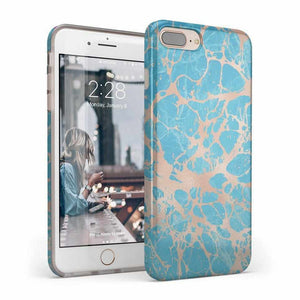 Blue Teal & Rose Gold Marble Case iPhone Case Get.Casely Classic iPhone 6/6s Plus