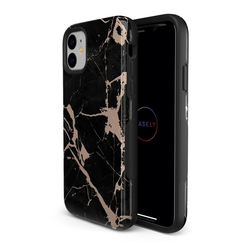 Cracked Rose Gold Black Marble Case iPhone Case Get.Casely