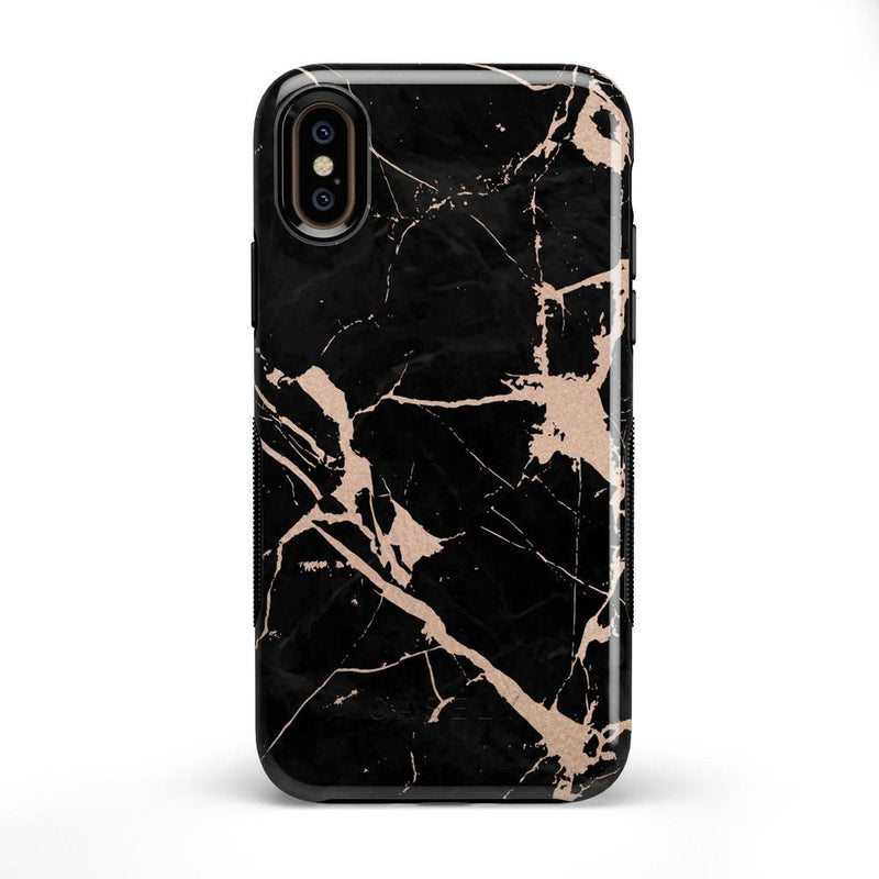 Cracked Rose Gold Black Marble Case iPhone Case Get.Casely Bold iPhone X / XS