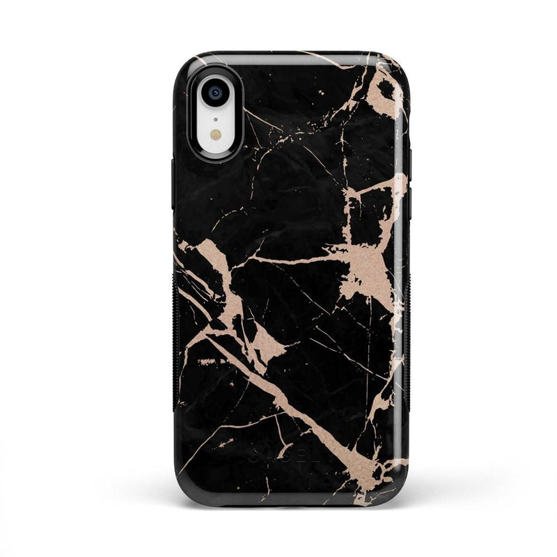 Cracked Rose Gold Black Marble Case iPhone Case Get.Casely Bold iPhone XR