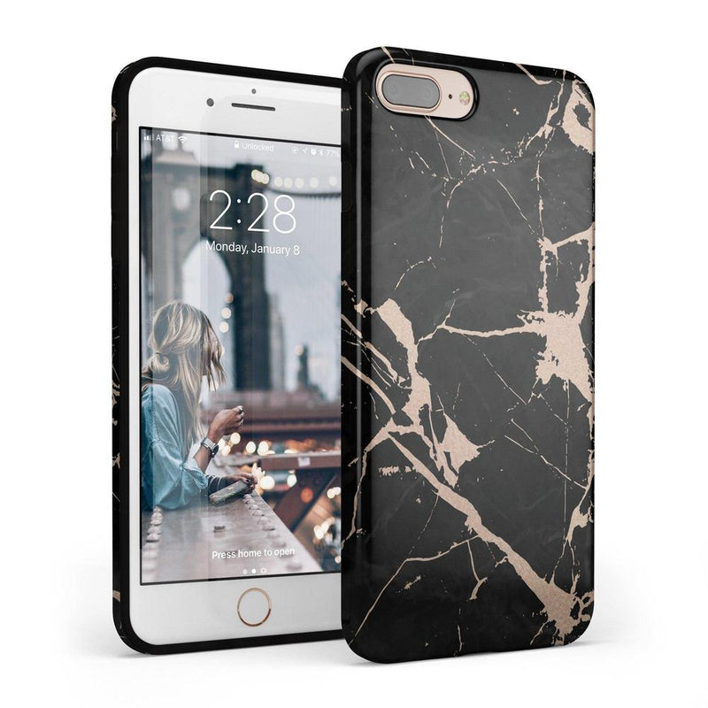 Cracked Rose Gold Black Marble Case iPhone Case Get.Casely Classic iPhone 6/6s Plus