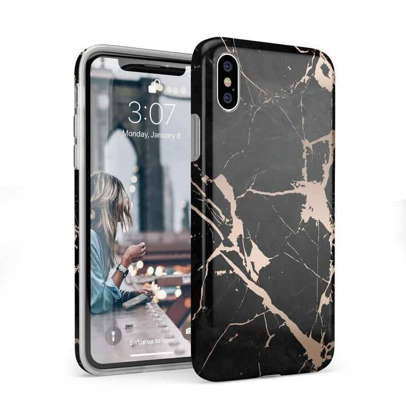 Cracked Rose Gold Black Marble Case iPhone Case Get.Casely Classic iPhone X / XS
