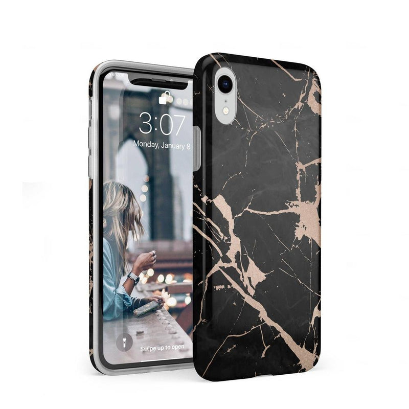 Cracked Rose Gold Black Marble Case iPhone Case Get.Casely Classic iPhone XR