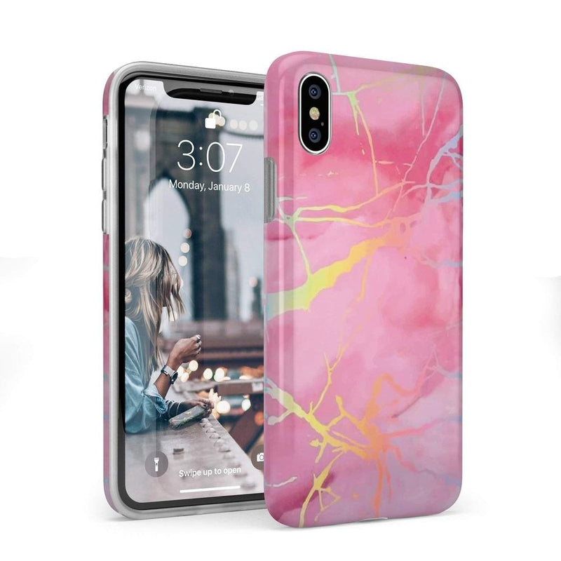 Cute Pink Marble Holo Case iPhone Case Get.Casely Classic iPhone X / XS