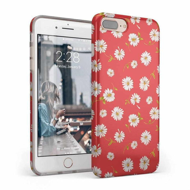 Daisy Daydream Red Coral Floral Case iPhone Case Get.Casely Classic iPhone 8 Plus
