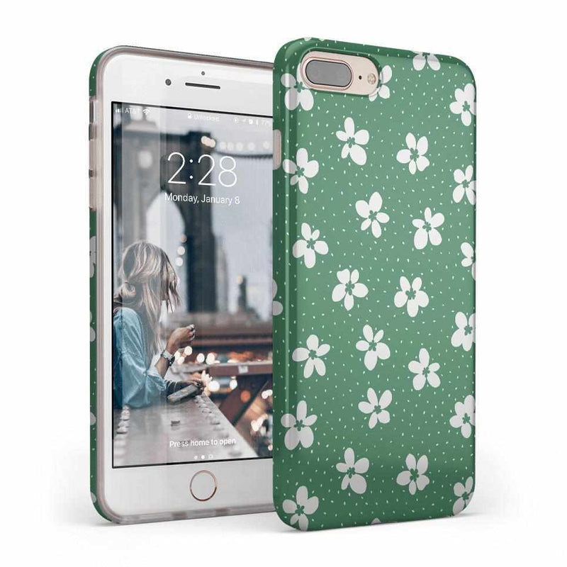 Flower My World | Jade Green Flower Case iPhone Case get.casely Classic iPhone 8 Plus