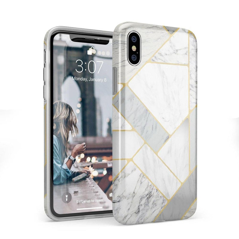 Geo White and Gold Marble Case iPhone Case Get.Casely Classic iPhone X / XS