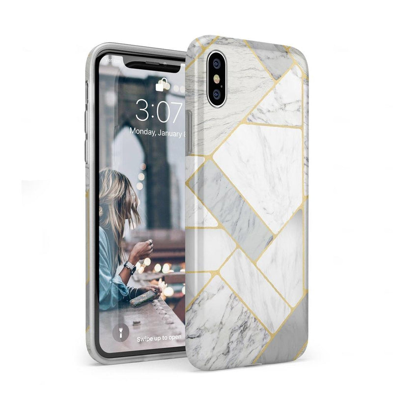 Geo White and Gold Marble Case iPhone Case Get.Casely Classic iPhone XS Max