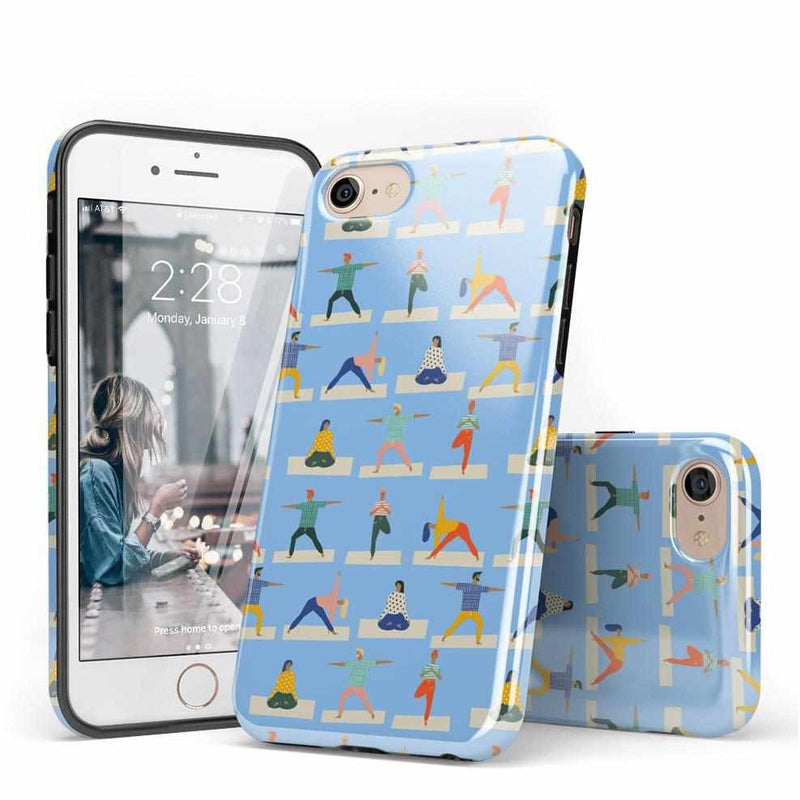 Go with the Flow Light Blue Yoga Case iPhone Case get.casely
