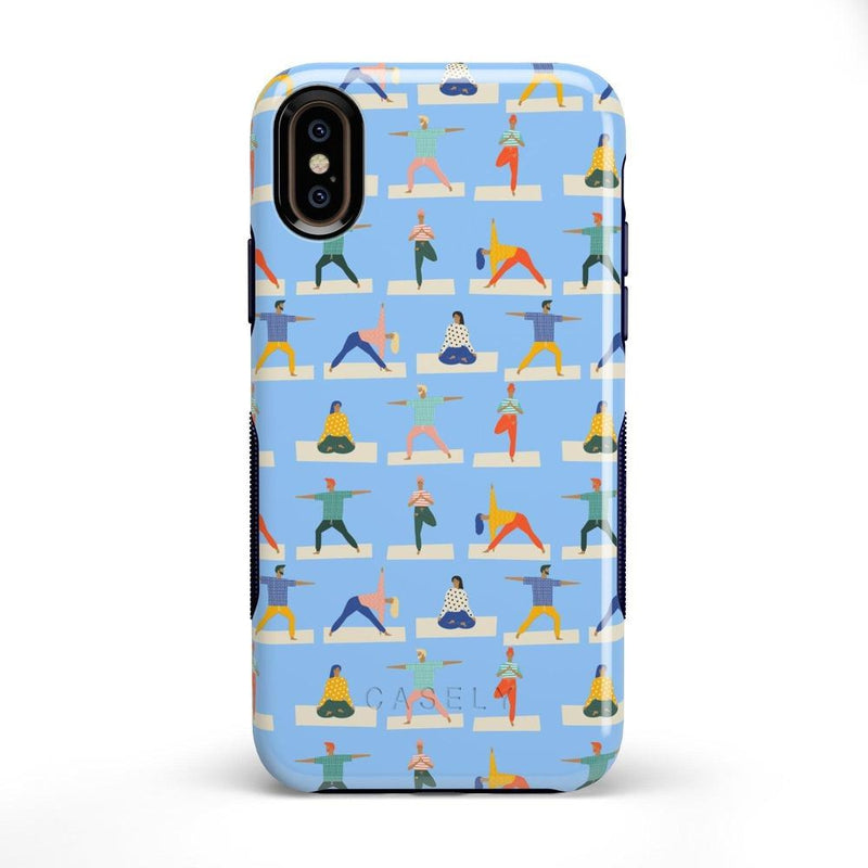 Go with the Flow Light Blue Yoga Case iPhone Case get.casely Bold iPhone X / XS