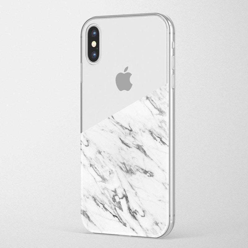 Half White Clear Marble Case iPhone Case Get.Casely