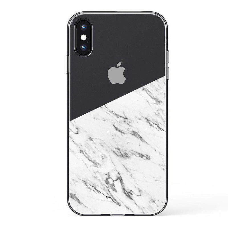 Half White Clear Marble Case iPhone Case Get.Casely Classic iPhone X / XS